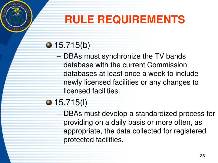 RULE REQUIREMENTS