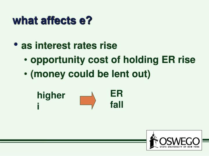 what affects e?