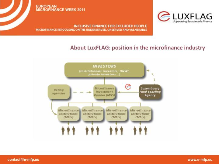 About LuxFLAG: position in the microfinance industry