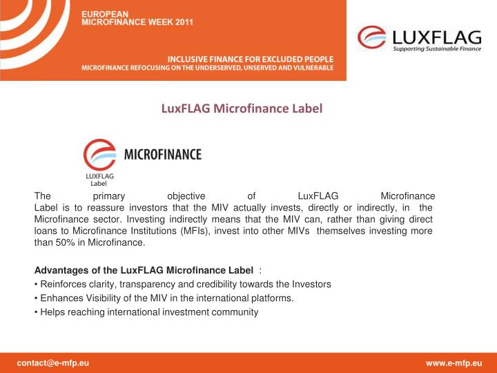 LuxFLAG Microfinance Label