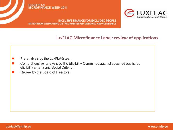 LuxFLAG Microfinance Label: review of applications