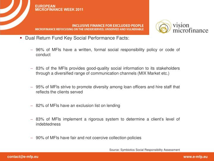 Dual Return Fund Key Social Performance Facts: