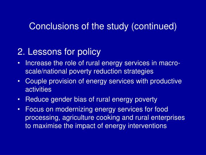 Conclusions of the study (continued)