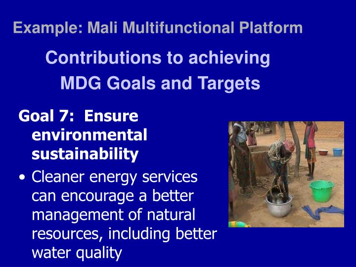 Example: Mali Multifunctional Platform