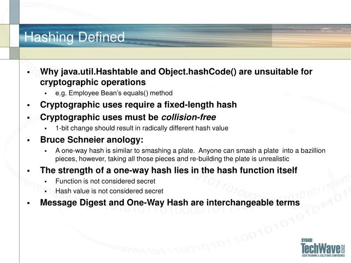 Hashing Defined