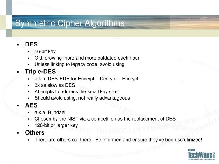 Symmetric Cipher Algorithms