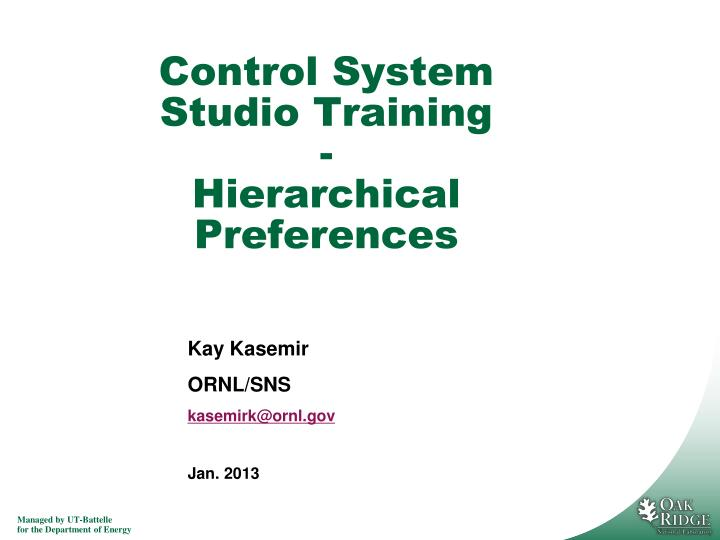 control system studio training hierarchical preferences n.