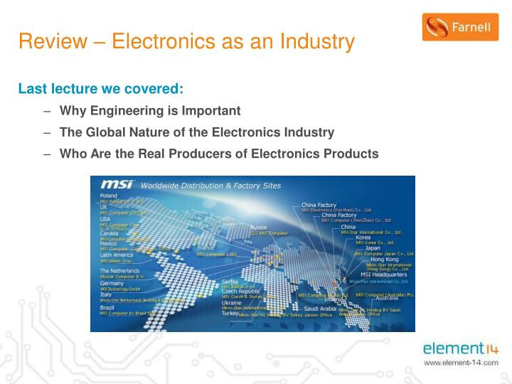 Review electronics as an industry