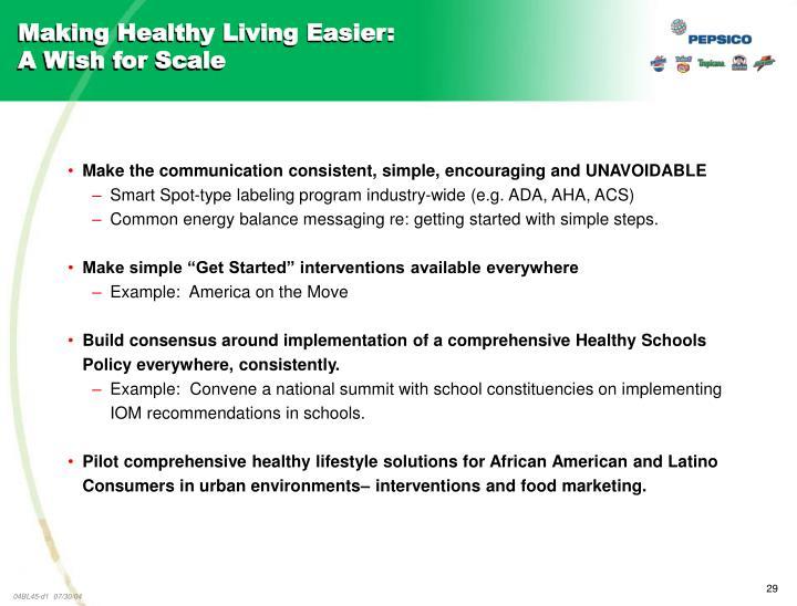 Making Healthy Living Easier: