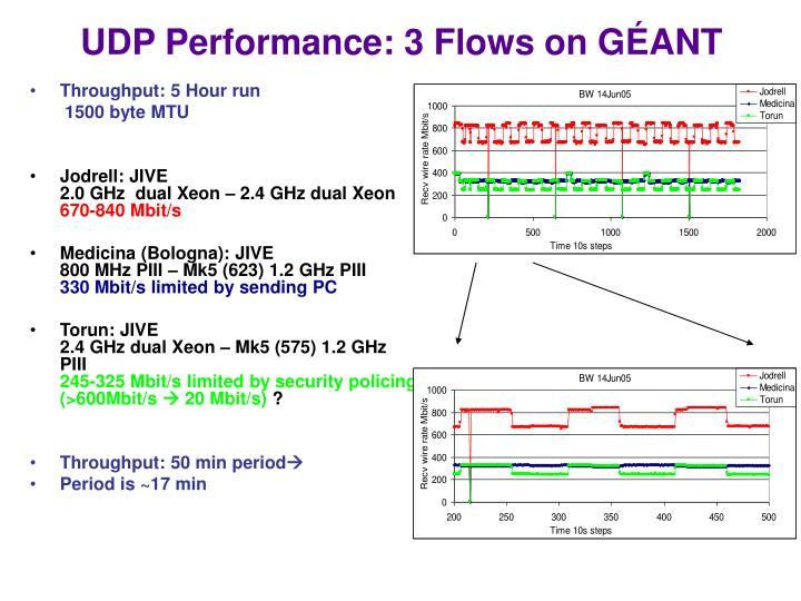 UDP Performance: 3 Flows on G