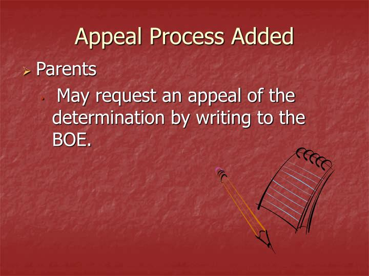 Appeal Process Added