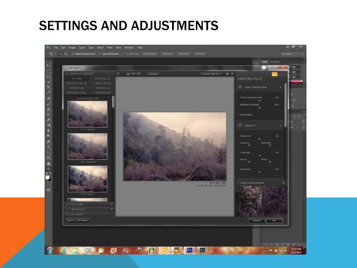 SETTINGS AND ADJUSTMENTS