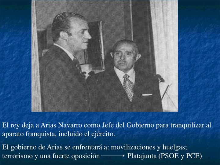 El rey deja a Arias Navarro como Jefe del Gobierno para tranquilizar al aparato franquista, incluido el ejército.