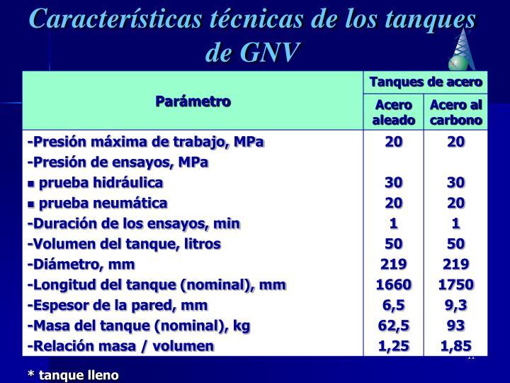 Características técnicas de los tanques de GNV