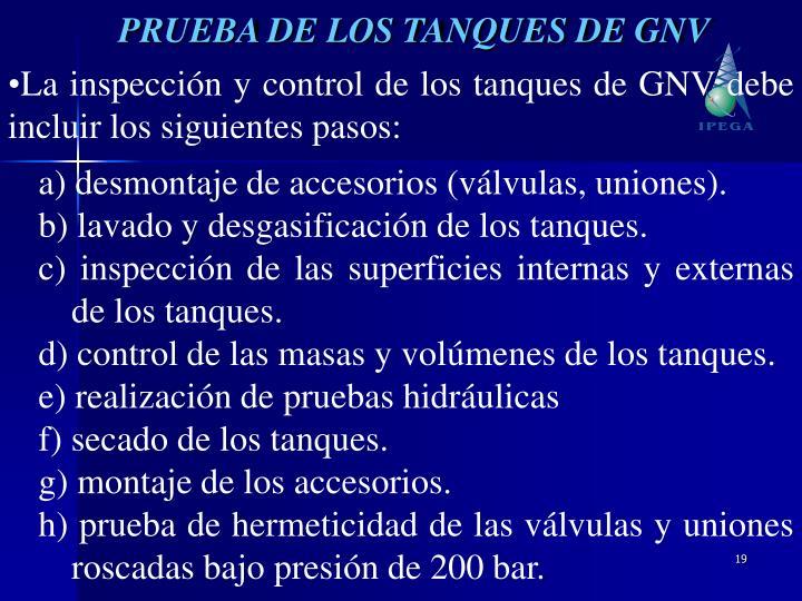 PRUEBA DE LOS TANQUES DE GNV