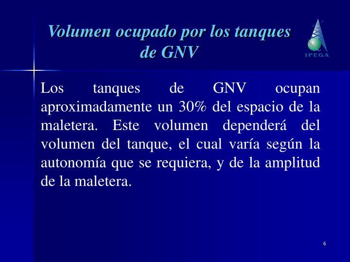 Volumen ocupado por los tanques de GNV