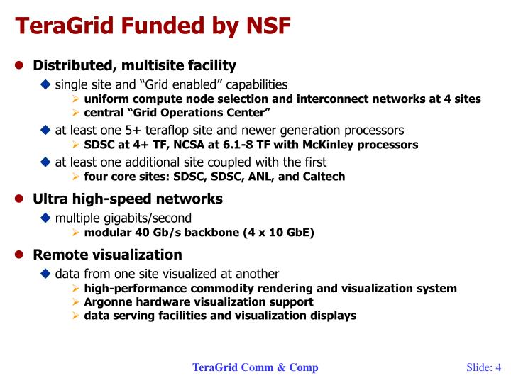 TeraGrid Funded by NSF