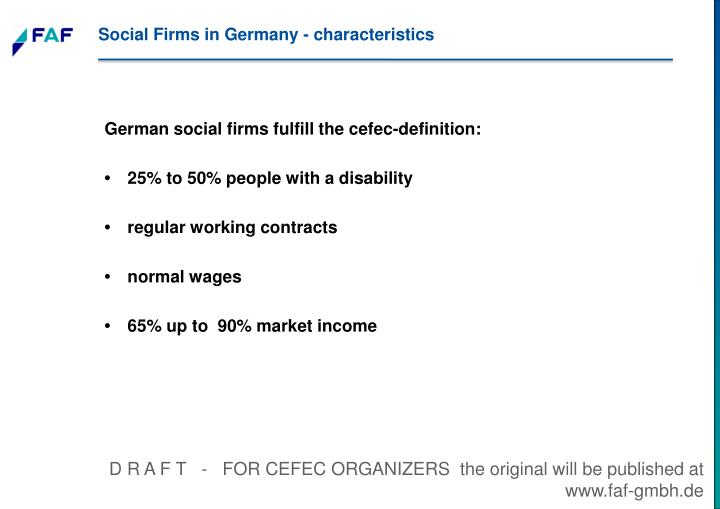 Social Firms in Germany - characteristics