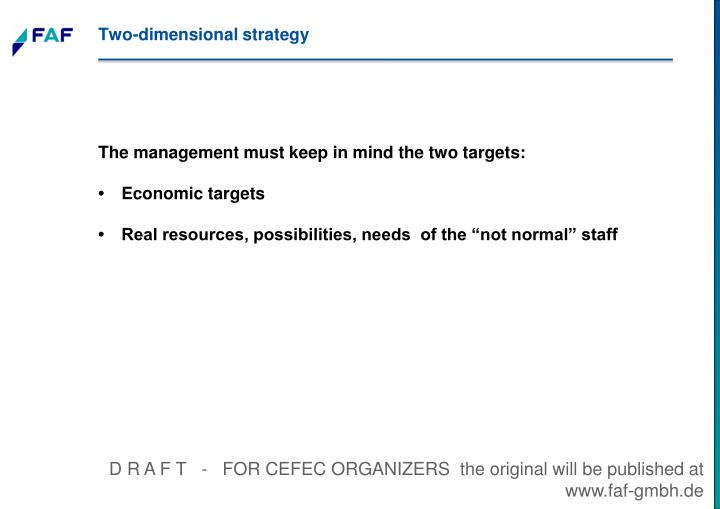 Two-dimensional strategy