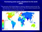purchasing power parity adjustment for the world 2003