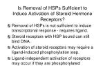 is removal of hsps sufficient to induce activation of steroid hormone receptors
