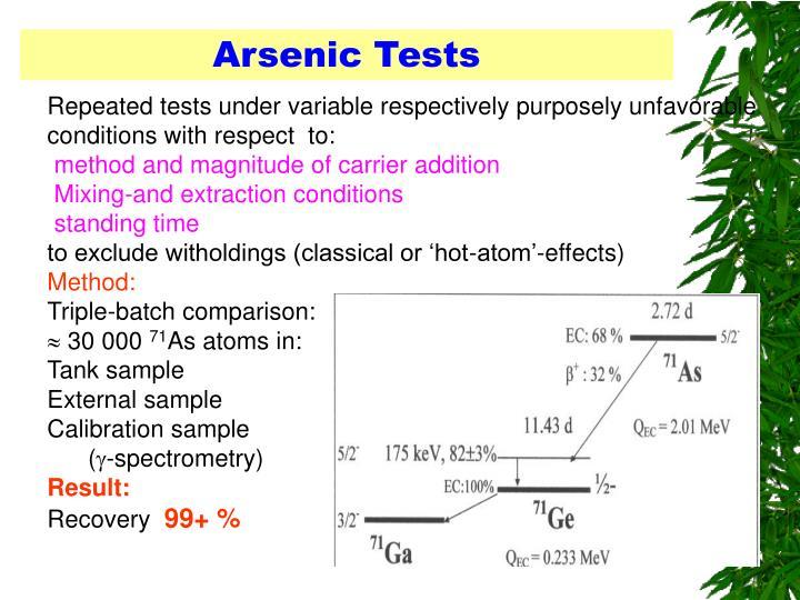 Arsenic Tests