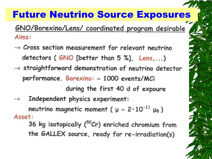Future Neutrino Source Exposures