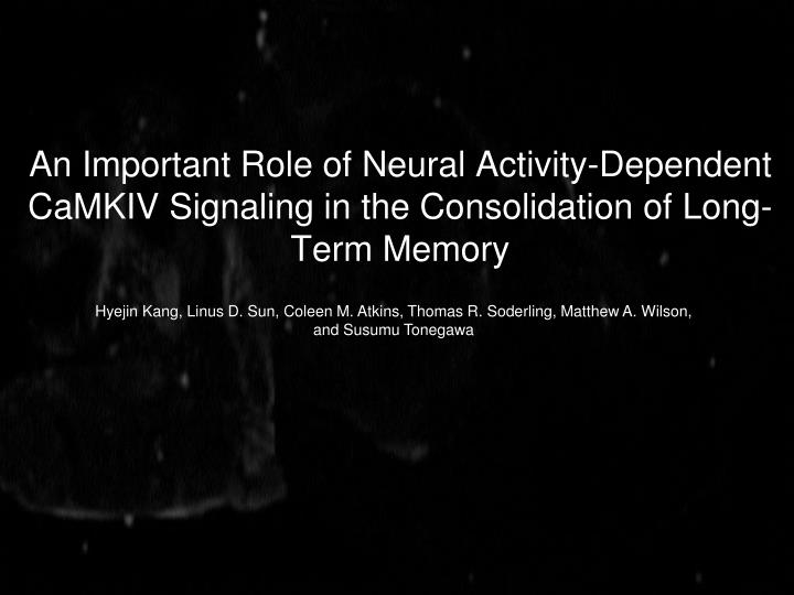 An Important Role of Neural Activity-Dependent CaMKIV Signaling in the Consolidation of Long-Term Me...