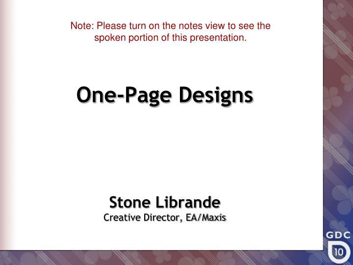 one page designs n.