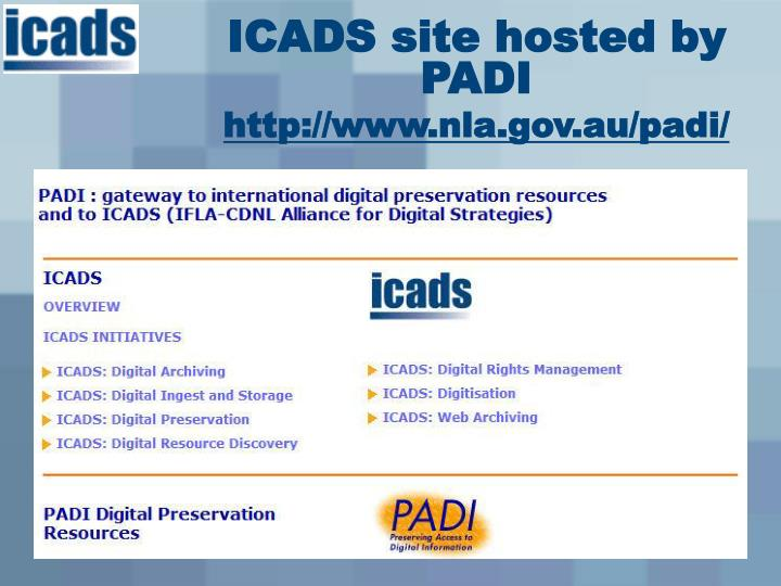 ICADS site hosted by PADI
