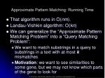 approximate pattern matching running time