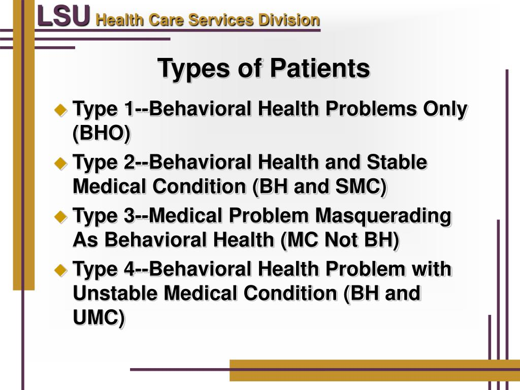 PPT - Managing The Behavioral Health Patient in LSU-HCSD ...
