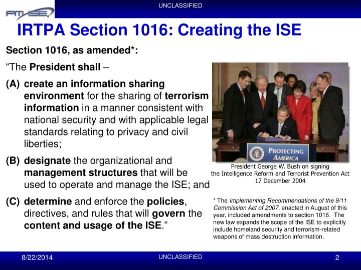 Irtpa section 1016 creating the ise