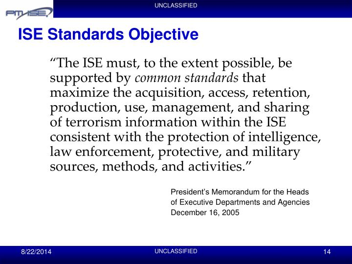 ISE Standards Objective