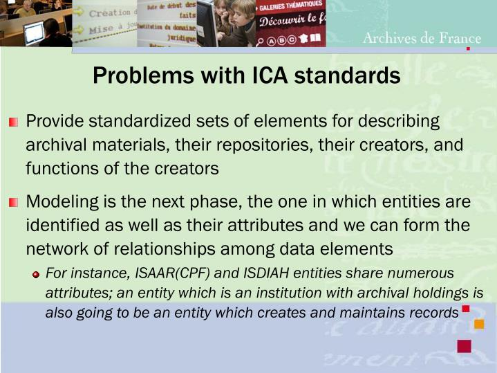 Problems with ICA standards