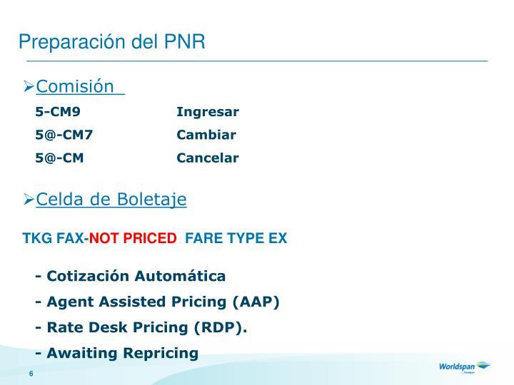 Preparación del PNR