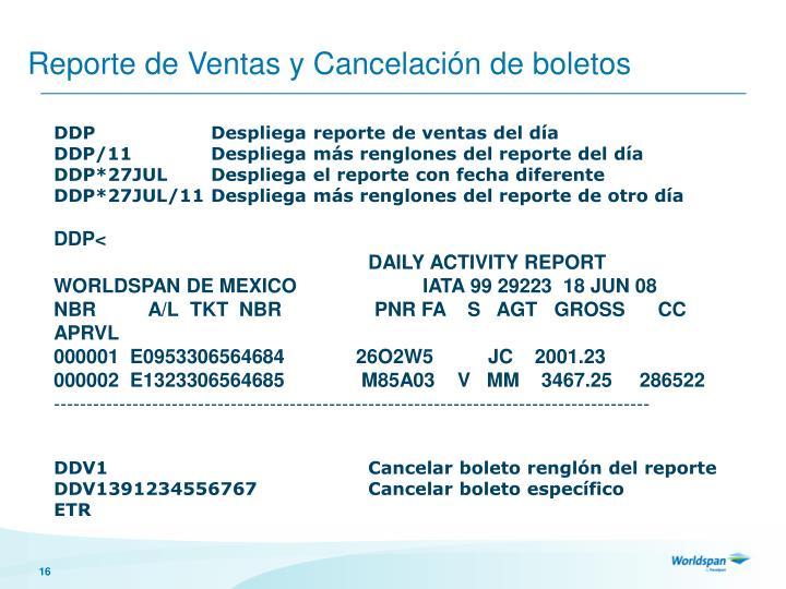 Reporte de Ventas y Cancelación de boletos