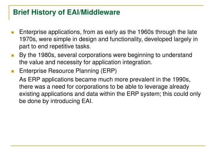 Brief History of EAI/Middleware