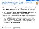tradition der daten in der schweiz zentraler standardisierter zugang schaffen