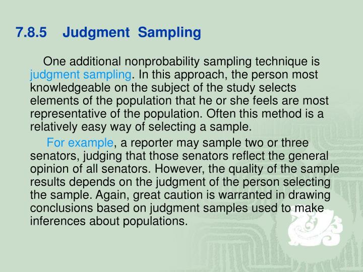 7.8.5    Judgment  Sampling