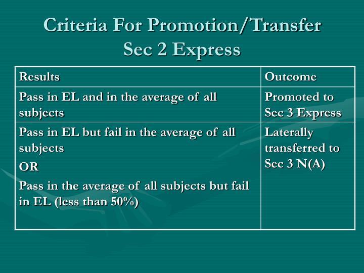 Criteria For Promotion/Transfer