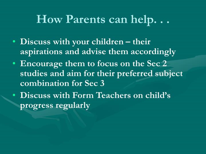 How Parents can help. . .
