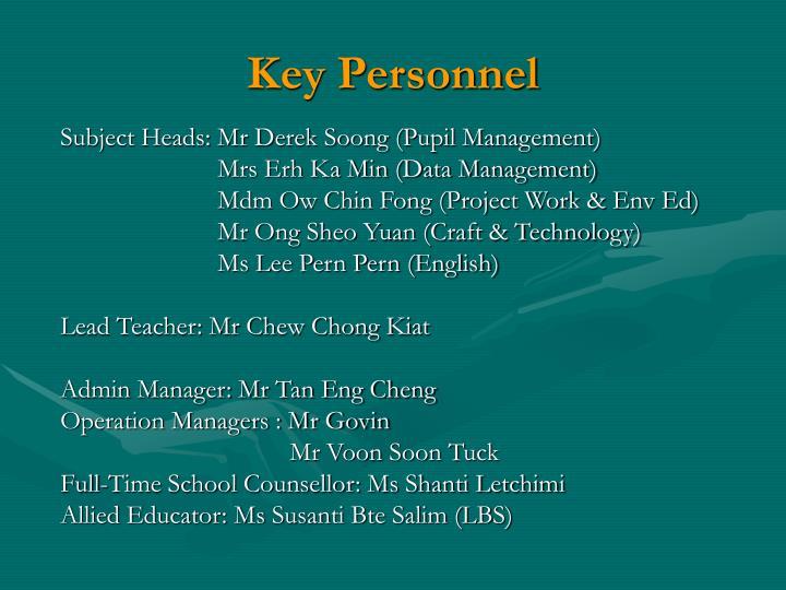 Key personnel1