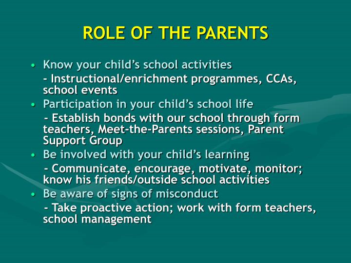 ROLE OF THE PARENTS