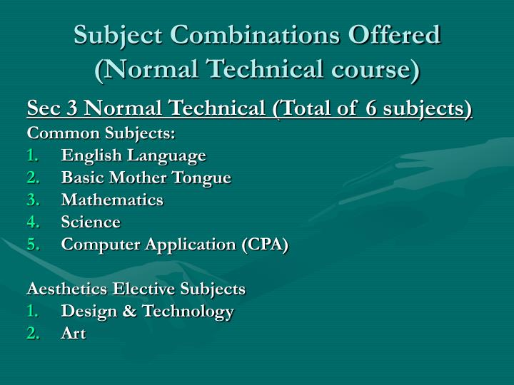 Subject Combinations Offered