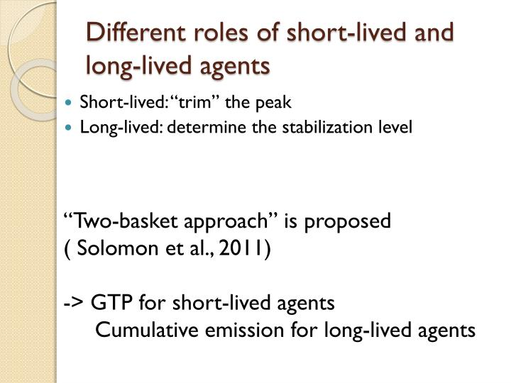 Different roles of short lived and long lived agents