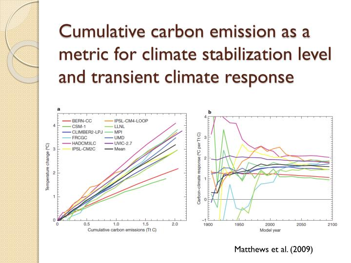 Cumulative carbon emission as a metric for climate stabilization level and transient climate response