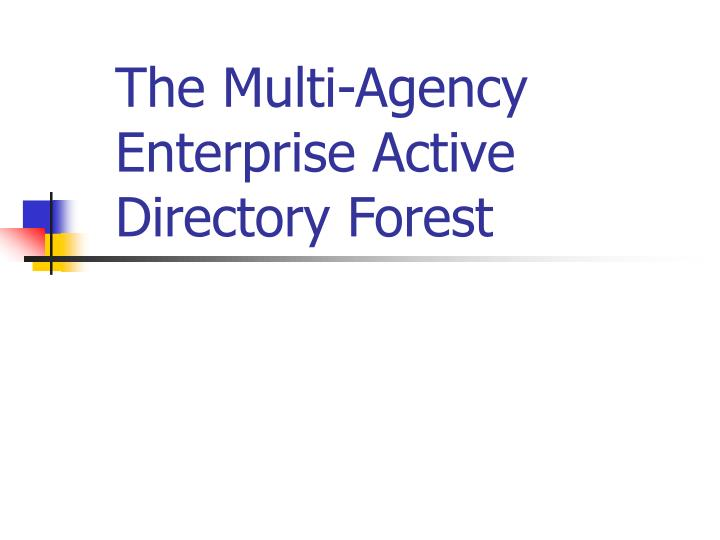 the multi agency enterprise active directory forest n.