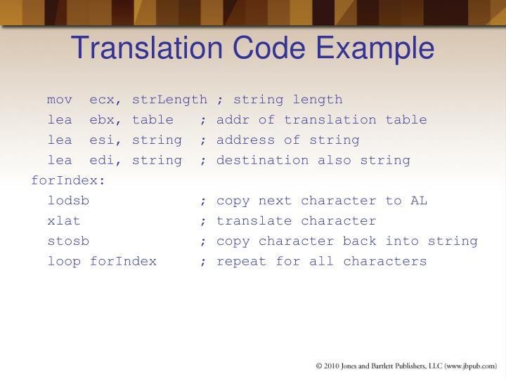 Translation Code Example