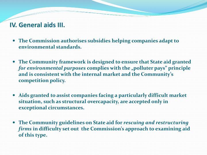 IV. General aids III.